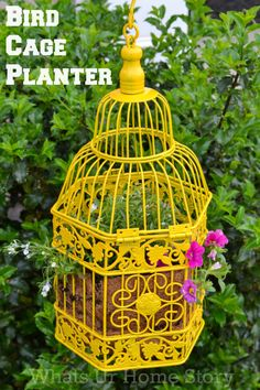 How to make a Bird Cage Planter. From whatsurhomestory.com.