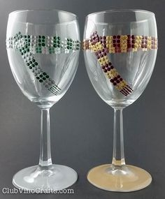 Custom Handpainted Hogwarts House Scarves Wine Glasses by ClubVinoCrafts. Top-rack dishwasher safe. Any house from Harry Potter is available: Gryffindor, Slytherin, Hufflepuff, Ravenclaw, and also an option for custom colors.