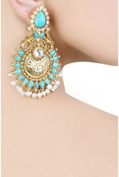 जAmrapali gold turquoise pearl earrings
