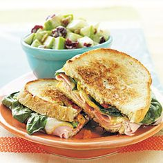 Grilled Ham, Muenster, And Spinach Sandwiches Recipe