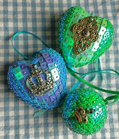 My polystyrene and sequin baubles / hanging ornaments