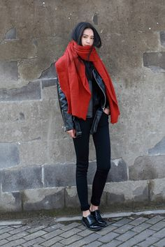Giant red scarf with leather jacket and black pants, nice