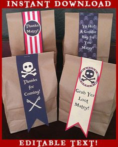 Pirates Birthday Party Decorations - Birthday Printables Favor Bag Tags - EDITABLE Text - Personalize at Home - INSTANT DOWNLOAD by TizzyLabs on Etsy https://www.etsy.com/au/listing/225571203/pirates-birthday-party-decorations