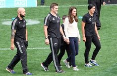 outfit 9 - meeting the All Blacks Kate dressed down for her second engagement of the day - an encounter with the All Blacks at Dunedin's Forsyth Barr Stadium.  The Duchess wore a cosy-looking pastel Jonathan Saunders cotton sweater as she helped coach a children's Rippa Rugby team