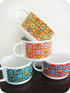 vintage coffee cups. ...