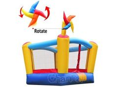 rotating colorful toy windmill mini inflatable bouncer, made of PVC + nylon. Will be total hit among kids in any events. Bouncy Castle, Bouncers, Pool Designs, Pinwheels, Windmill, Things That Bounce, Toys, Mini, Outdoor Decor