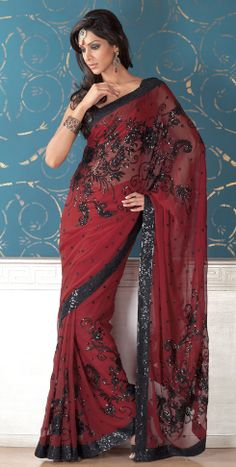 deep red saree