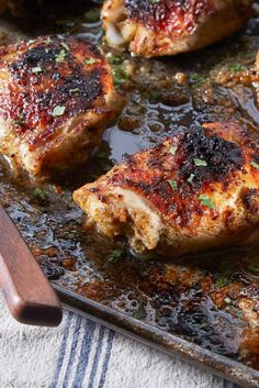 NYT Cooking: Chicken thighs have a huge advantage over lean breasts. The skin browns nicely and the meat stays juicy even when thoroughly cooked, which makes them ideal for grilling or broiling. The dark, rich meat also responds brilliantly to the strong equatorial flavors often associated with grilling. The Mexican-inspired treatment here, a quick liquid rub for the thighs, packs plenty o...