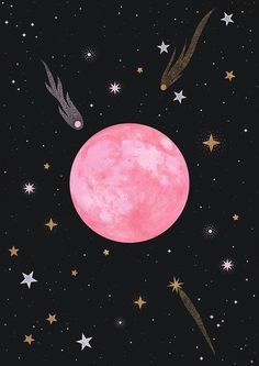 Strawberry Moon Mini Art Print by Carly Watts - Without Stand - x Pink Moon Wallpaper, Tumblr Wallpaper, Galaxy Wallpaper, Wallpaper Backgrounds, Pink And Black Wallpaper, Art And Illustration, Cellphone Wallpaper, Iphone Wallpaper, Roses Tumblr