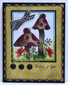 Prickley Pear - Mushrooms and Ladybugs
