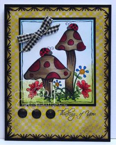 Prickley Pear Rubber Stamps: Ladybugs and Mushrooms, Butterflies Clearly Beautiful Stamp Set