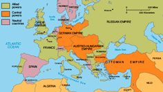 Political map of Europe in The countries are separated by allied powers, central powers, and neutral colonies. World History Lessons, History Projects, World War One, First World, Elizabeth Ii, World History Classroom, Map Worksheets, Coloring Pages For Boys, Historia