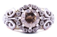 Natural round brilliant-cut brown and white diamond ring in white and rose gold completed with hand engraving by GALACIA DESIGNER JEWELLERY. White Diamond Ring, Diamond Gemstone, Diamond Jewelry, Bespoke Jewellery, Designer Jewellery, Hand Engraving, Jewelry Design, Rose Gold, Jewels