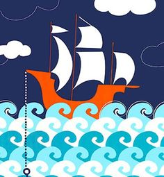 Ahoy Matey Making Waves Cotton Fabric Panel by Michael Miller