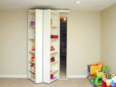 Cool idea for-the-home shelf for toys yet a closet for all your childs cloths