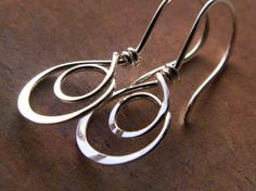 Double Hoop Earrings Sterling Silver Hammered Metalwork Jewelry By Olivyea