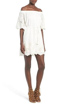 ASTR 'Alicia' Off the Shoulder Cotton & Silk Dress available at #Nordstrom