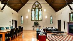 Renovated churches into unique homes! The four-bedroom Alphington property featured a spa, steam room, gym and 4000-bottle cell