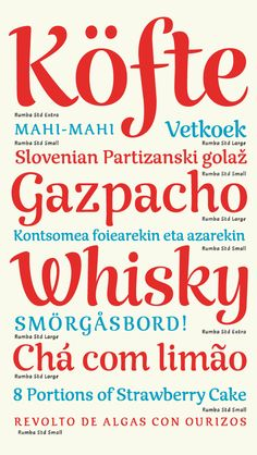 Rumba, a three styles family typeface by Laura Meseguer, via Behance