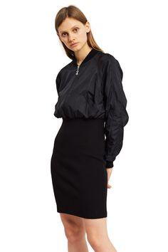 Opening Ceremony, Black Bomber Dress The OC Torch Bomber Dress fuses the military-inspired bomber jacket with the body-conscious, slim-fitting pencil skirt. The result is a flattering play on proportions with an all-in-one outfit for the girl on-the-go., OC EXCLUSIVE, Front zipper closure, OC torch logo pull tab, Slanted side pockets, Ribbed collar, cuffs, and skirt, Mid-thigh length, Top: 100% nylon; skirt: 95% cotton, 5% elastane, Imported