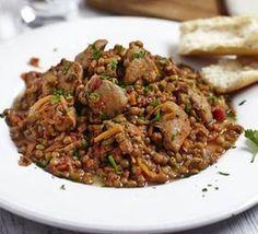Spicy harissa chicken with lentils