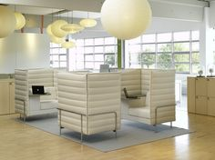 Alcove Highback Sofa by Vitra. Great acoustics and visual screening. I love the integrated wirting shelf and storage space beneath it. A new kind of flexible, movable meeting room.  http://www.vitra.com/en-us/home/products/alcove-highback-sofa/overview/