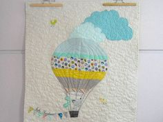 Modern patchwork baby quilt, the dog in the hot air balloon, crib quilt, wall…