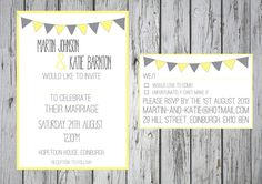 Yellow and Grey Bunting Invitation Sets  By Paper Delights www.weddingstationery.co.uk
