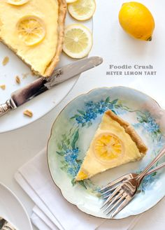 Meyer Lemon tart with candied lemon.