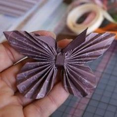 Using ribbon instead of paper for body and antenna on origami butterflies