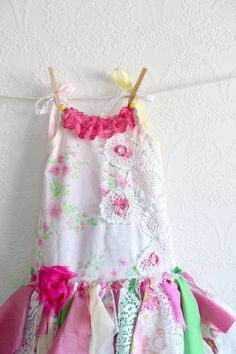 Toddler Fairy Dress Girl's Clothing 2T Princess Birthday Pink Tutu Tattered Style Upcycled Dress Shabby Chic Children's Clothes 'RACHEL'