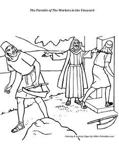 Coloring page for Matthew 20:1-16, parable of the workers