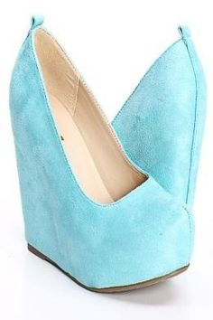 Turquoise faux suede #wedge #sandals $29 #shoes