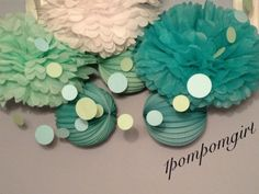 Perfectly Beachy  40 Tissue Paper Pom Pom/Decorated Paper Lanterns (you choose your colors) birthday wedding bridal shower baby shower