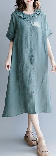 e020db04d52 Elegant green natural cotton linen dress trendy plus size holiday dresses  casual short sleeve patchwork Peter