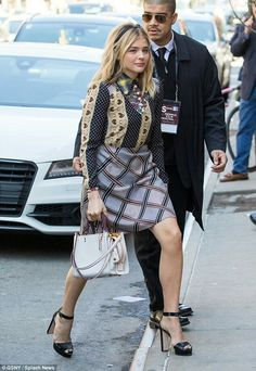 Busy girl: Chloe Grace Moretz showed up for a Juror Welcome Lunch at the Tribeca Film Festival on Thursday wearing a very patterned dress and very chunky high heels Chloe Fashion, Fashion Outfits, Tribeca Film Festival, Chloe Grace Moretz, Famous Women, Beautiful Actresses, Celebrity Style, Celebrity Crush, Sexy Women