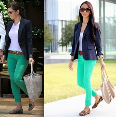 "Maytedoll's Jessica Biel ""get the look"" navy blazer, green jeans and leopard print loafers"