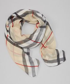 Take a look at this Tan Plaid Scarf by Sweet Indigo on #zulily today!