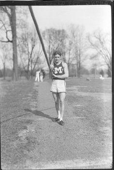 Howard Albert Mills in track uniform ca. 1926 by Miami U. Libraries - Digital Collections. #miamiu #track #athletics #athletes #polevault