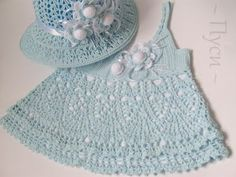 Free Crochet Baby Dress Patterns | baby dress and hat pattern | Thinng