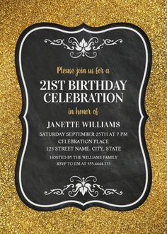 Elegant adult 60th birthday party invitations online fun black glitter adult 21st birthday party invitations filmwisefo