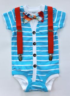 Cardigan and Bow Tie Onesie Set - Light Blue with Madras - Trendy Baby Boy
