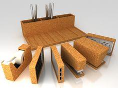 Cork Office Set   Minimalni   TRILINE STUDIO   Architecture, 3D and Design