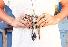 accessories with a lace dress