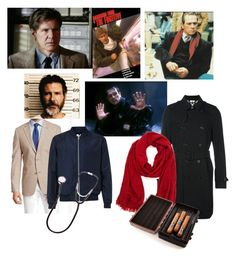 """""""The Fugitive"""" by bobthechob ❤ liked on Polyvore featuring Ike Behar, Topman, Burberry, Brouk & Co., men's fashion, menswear, 1993, harrisonford, thefugitive and tommyleejones"""