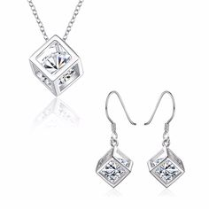 Aliexpress.com : Buy 925 Sterling Silver jewelry set Necklaces + earrings Austrian Crystal Box Cube CZ Diamond For Women Silver plated Jewelry Joyas from Reliable diamond pro suppliers on Rose Fashion Jewelry CO., LTD.