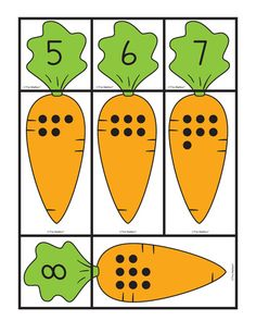 Carrot Cards: matching sets and numbers, Lesson Plans - The Mailbox Preschool Centers, Preschool Learning Activities, Toddler Learning, Preschool Activities, Math Pages, Kindergarten Math Worksheets, Learning Numbers, Math For Kids, Kids Education
