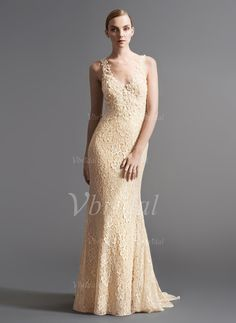 Trumpet/Mermaid V-neck Sweep Train Beading Tulle Lace Covered Button Regular Straps Sleeveless Reception No Winter Spring Fall Champagne Wedding Dress