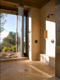Bathroom Dream Shower Design, Pictures, Remodel, Decor and Ideas Huge Shower, Dream Shower, Walk In Shower, Rain Shower, Double Shower, Napa Valley, Tiny House, Indoor Outdoor, Outdoor Living