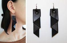Geometric Jewelry Urban Black leather earrings Minimal leather earrings Dangle earrings in the style of rock hip goht Modern leather earring